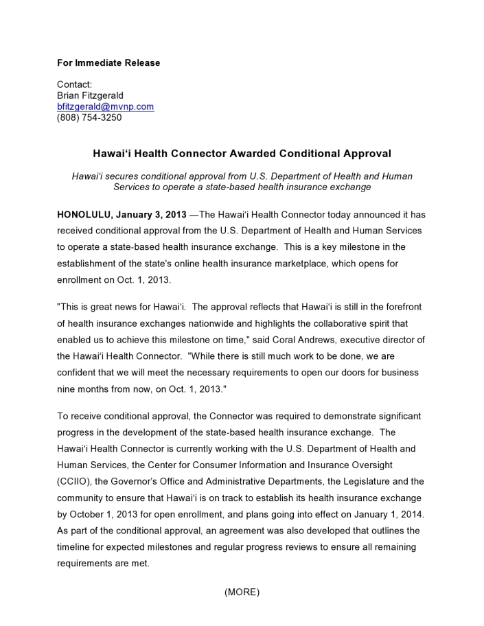 Hawaii Health Connector Awarded Conditional Approval pg1