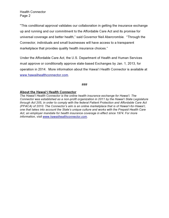 Hawaii Health Connector Awarded Conditional Approval pg2