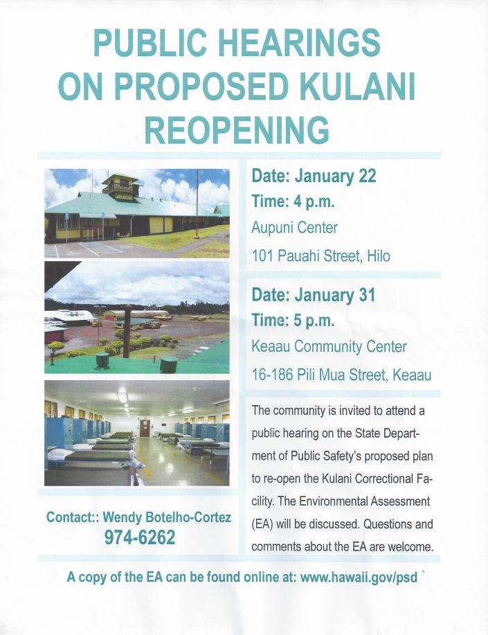 Public Hearings on Proposed Kulani Reopening