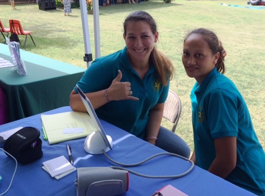 Brandy Cordeiro and Lono Grace, KRHCAI Health Career Volunteers