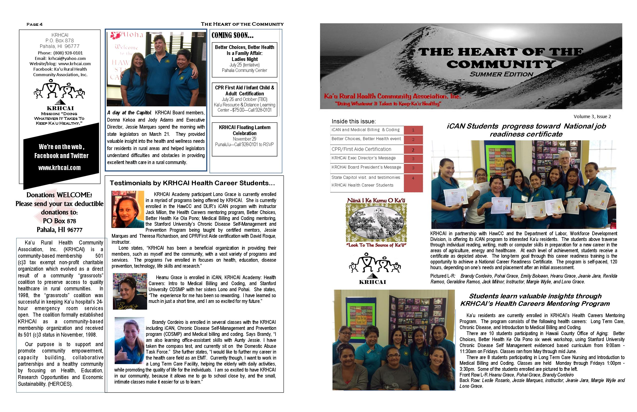 krhcai summer 2014 newsletter ka u rural health community