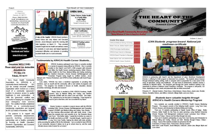 KRHCAI Summer NEWSLETTER.11x17 template Page 1 abd 4