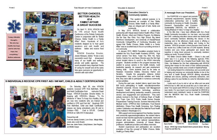 KRHCAI Summer NEWSLETTER.page 2 and 3