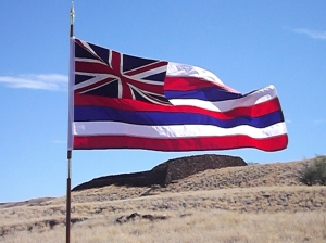 Hawaiian flag at Pu'ukohola Heiau NHS