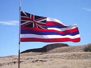 Hawaiian flag at Pu'ukohola Heiau NHS