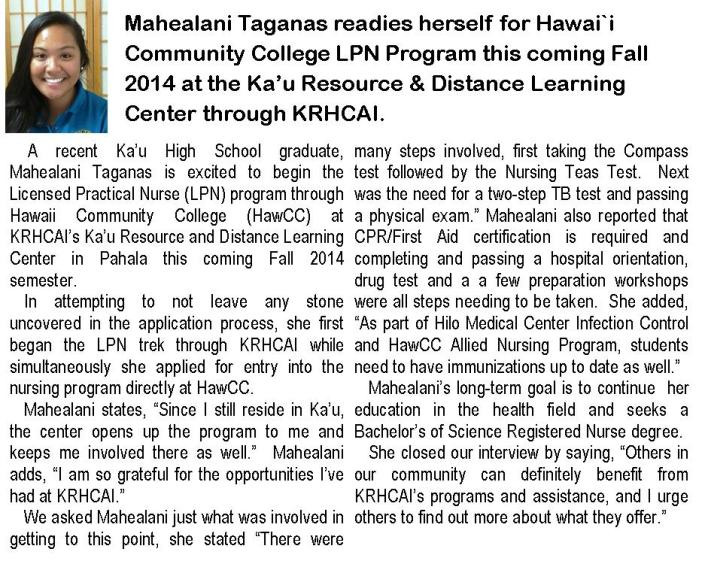 Mahealani Taganas.LPN student