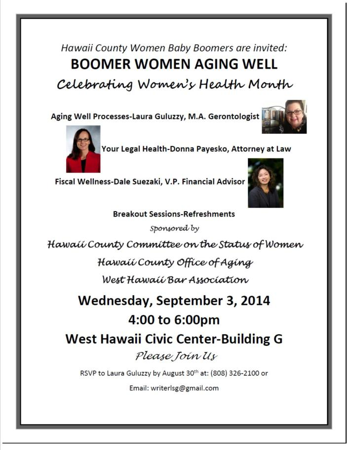 Women Boomers Aging Well Program Flyer