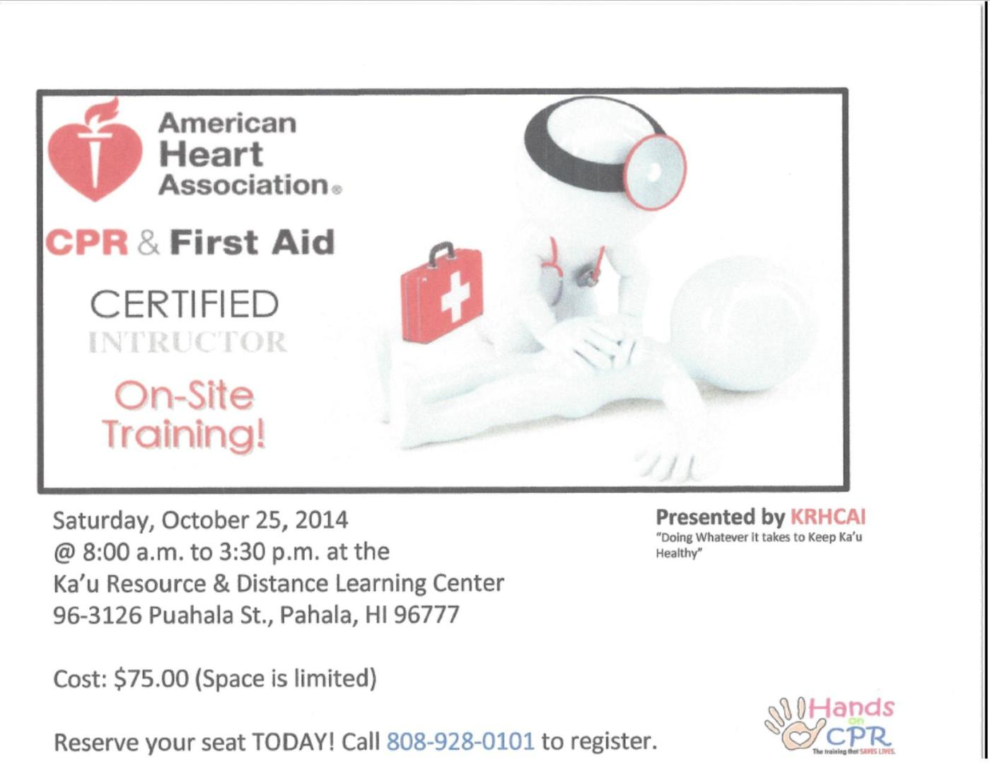 Krhcais cpr and first aid certification class to be held 1025 krhcais cpr and first aid certification class to be held 1025 kau rural health community association inc xflitez Gallery