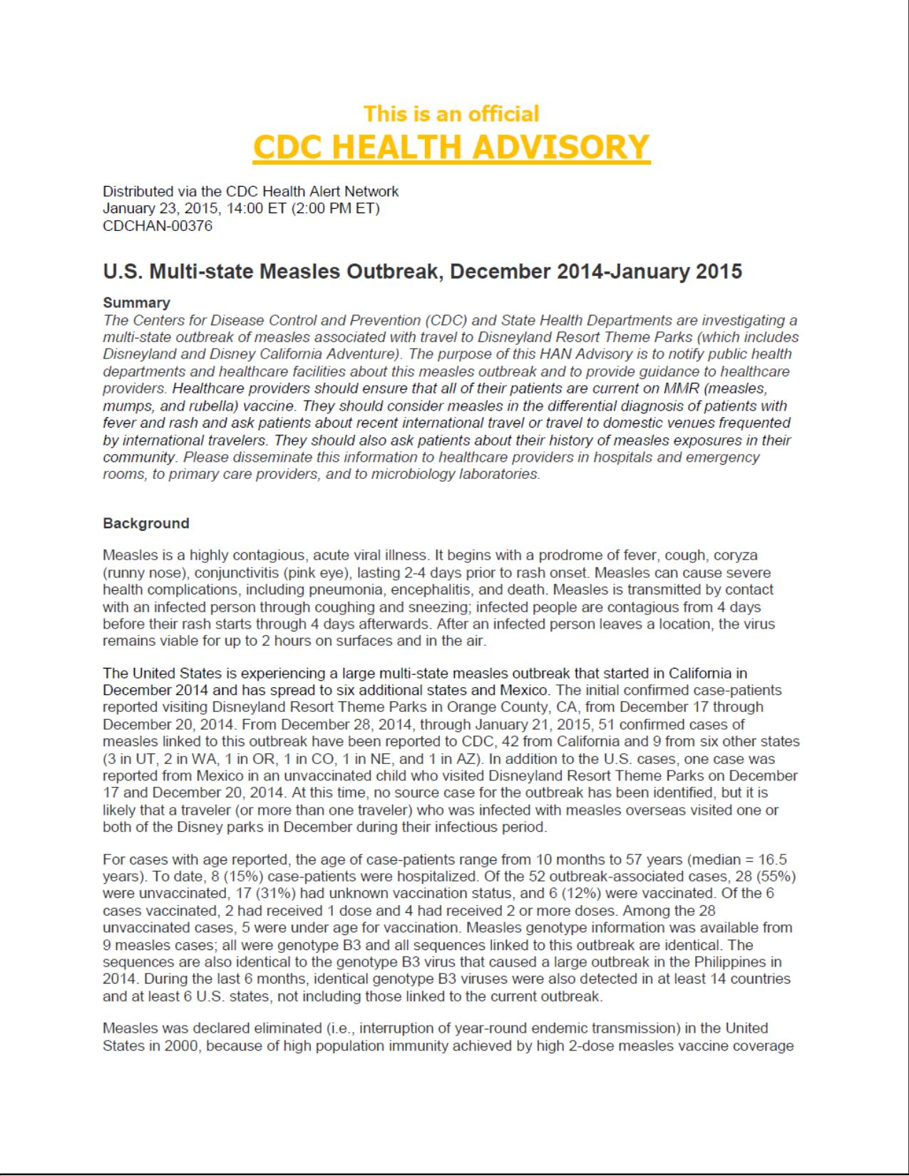 CDC Health Advisory – Measles Outbreak « Ka'u Rural Health