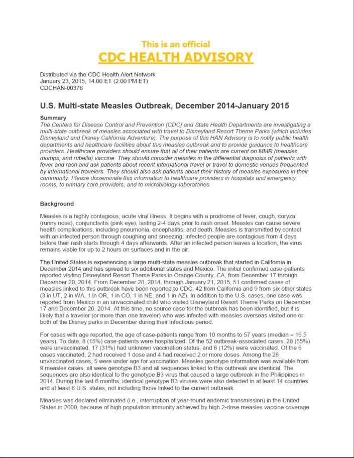 Health Advisory Page 1