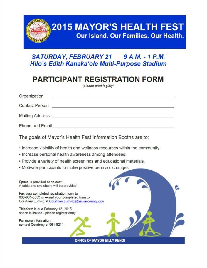 Mayor's Health Fest Registration