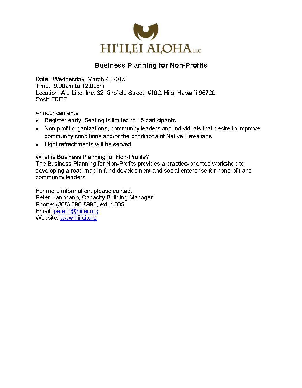 Hiilei Aloha, LLC - Registration Announcement