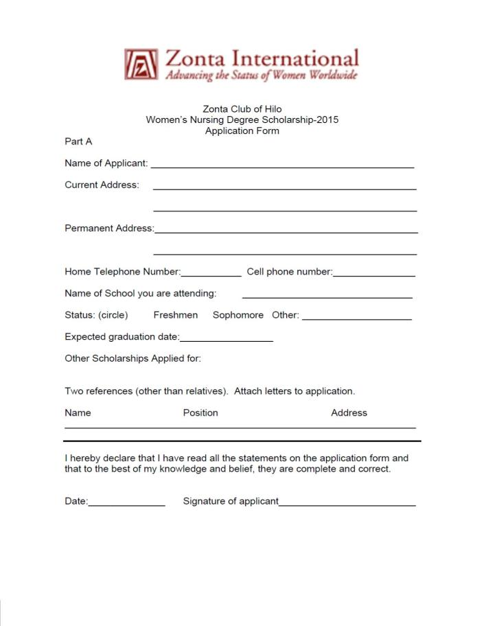 Zonta Nursing Application