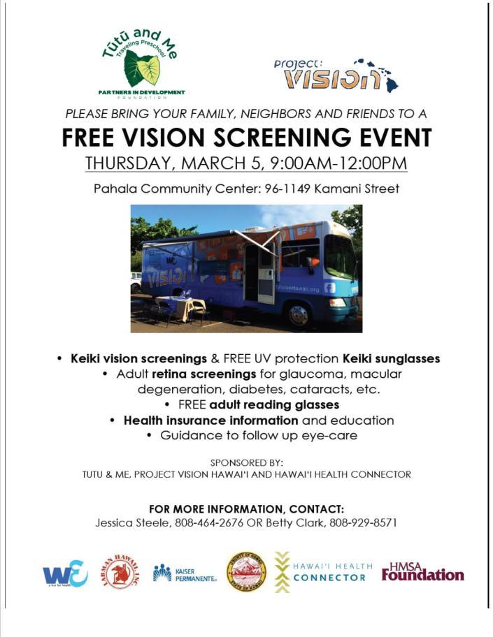 Free Vision Screening - Pahala