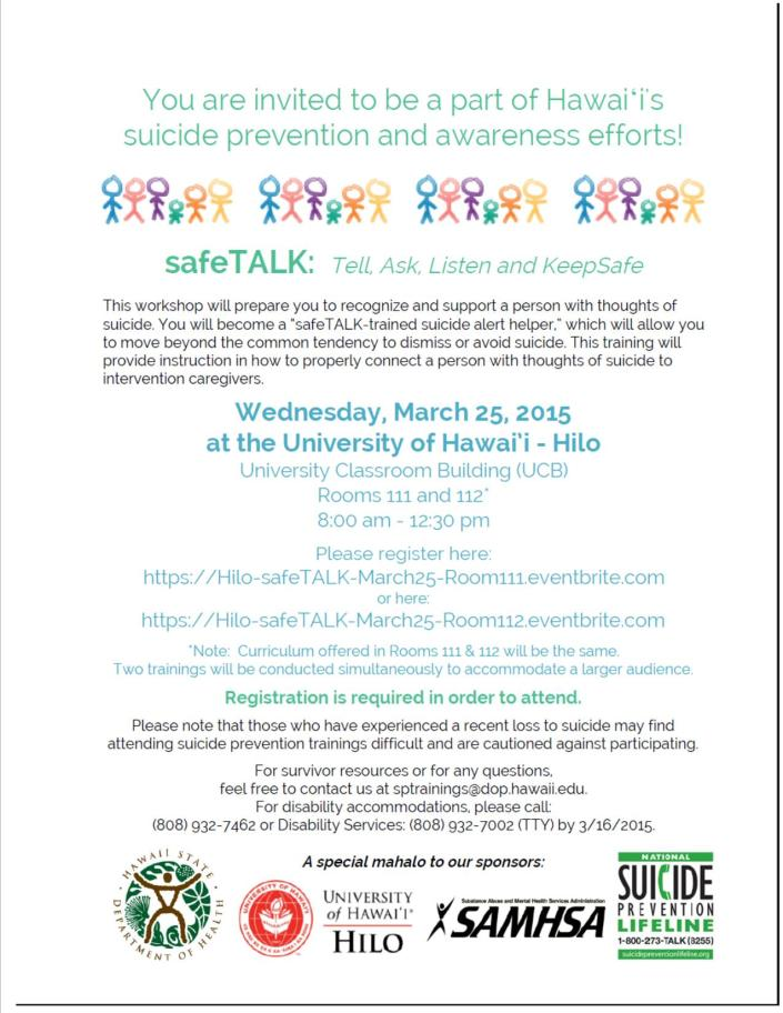Safe Talk Flier