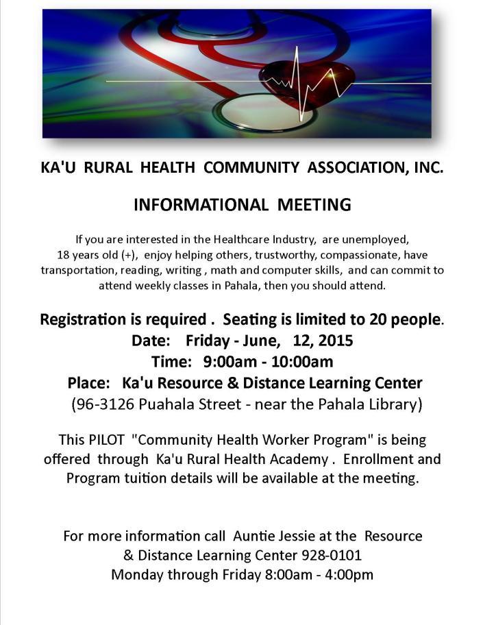 KRHCAI Info Meeting Pilot CHWP