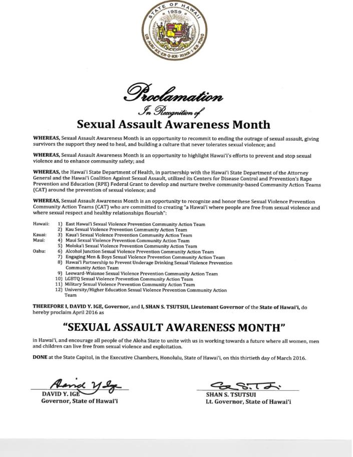 Governor's Proclamation Sexual Assault Month