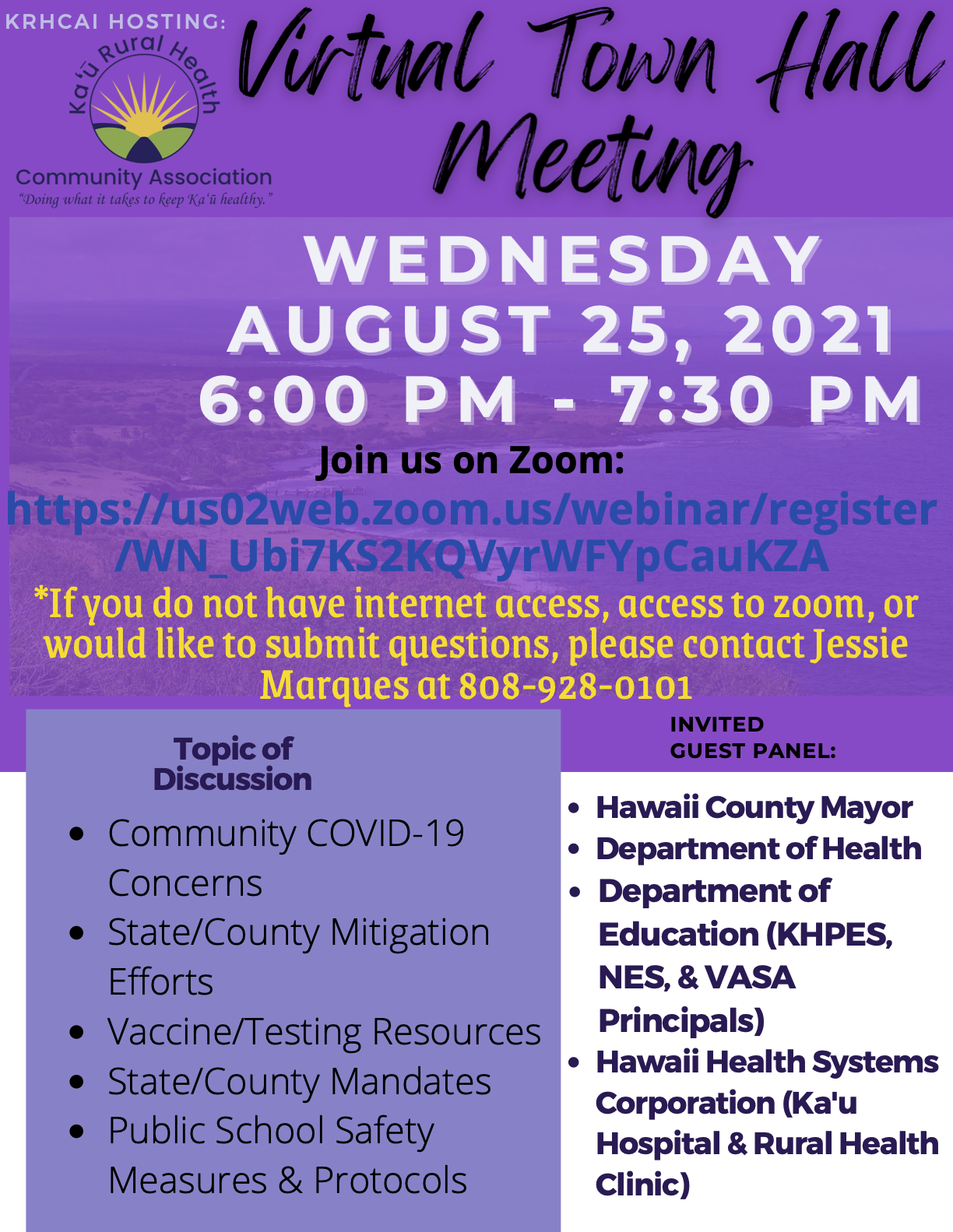 Town Hall Meeting 8.25.21 Flyer (Draft)